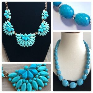 Jewelry - Bundle of Faceted Turquoise Statement Necklaces